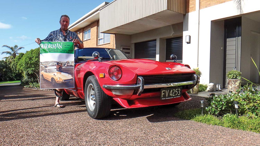 Ken Brough with his much-loved 240Z and a poster-sized blow-up of the Motorman cover from 44 years ago