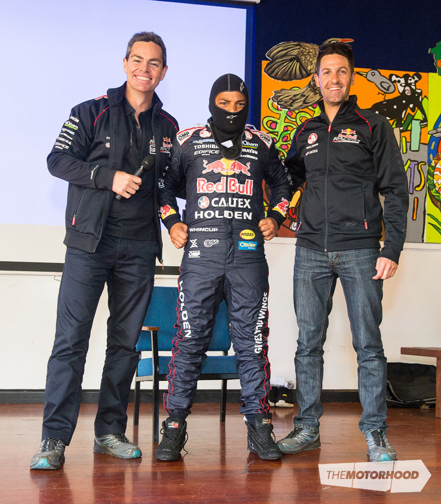 Ofa Tonga with Craig Lowndes (left) and Jamie Whincup (right), finds out what it's like to kit up like a V8 Supercar driver