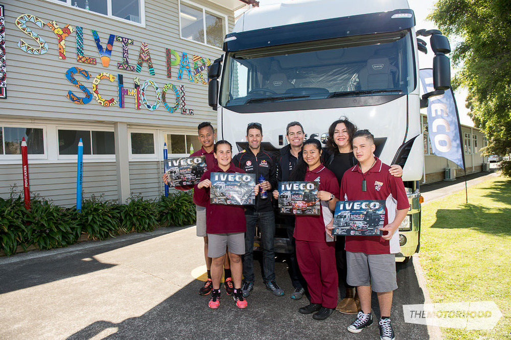 Principal Barbara Ala'alatoa (back right) with students (from left to right) Sam Fanguna, Milania Cairns, Annaleigh Taufu, and Isaiah Smith took their chance for a quick photo with the drivers