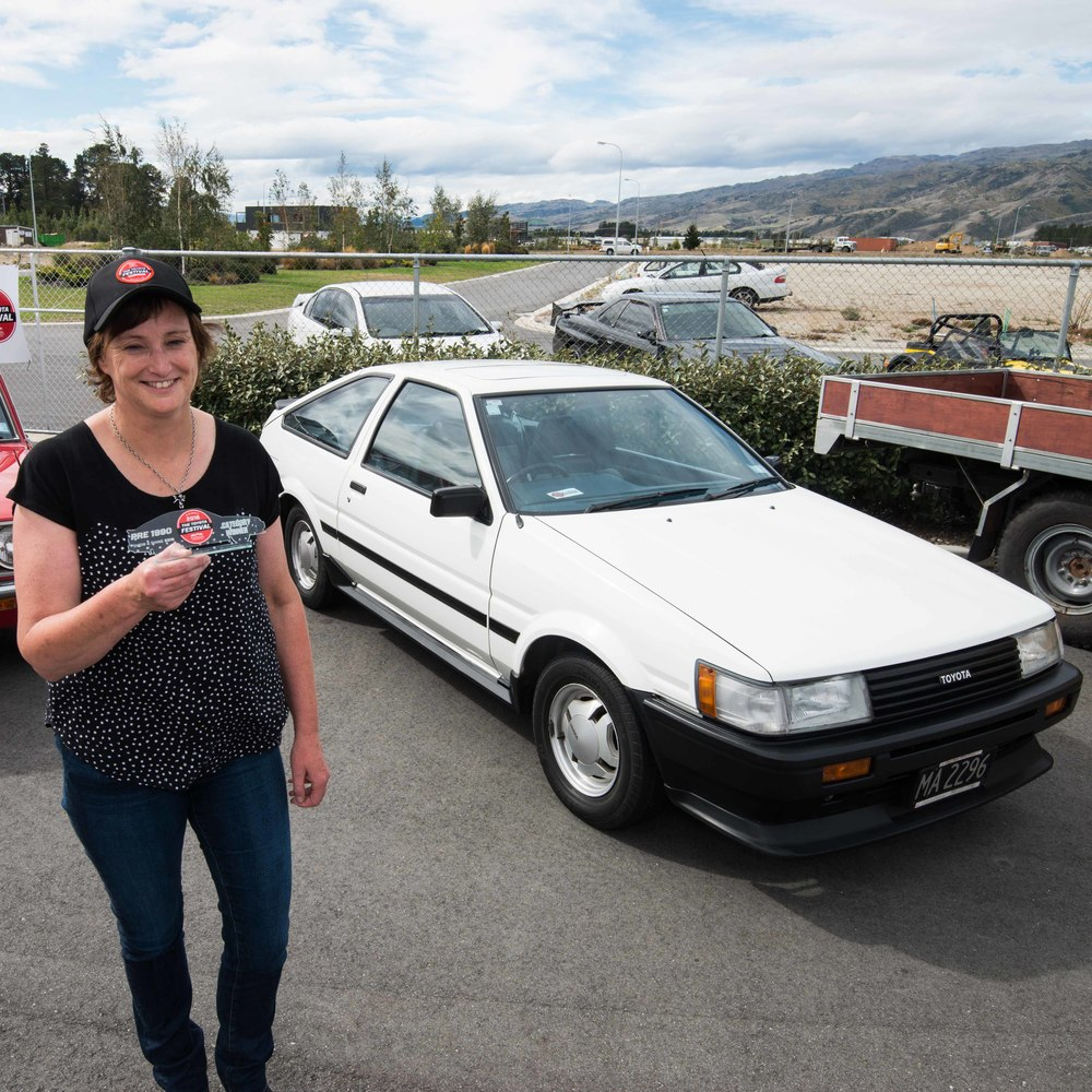 Trish Campbell and her pristine original AE86 which won the Pre-1990 category in the Show and Shine competition .jpg