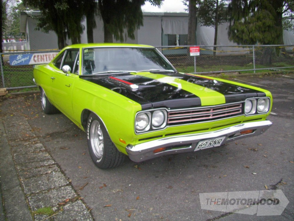 Andrew Simmonds from Rotorua Sulphur City Hot Rod Club came over in his green 1969 Plymouth Road Runner.jpg