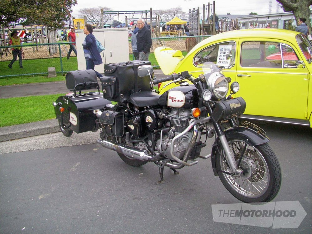 Dont know who owned this Royal Enfield motorcycle complete with single wheel trailer as I had no info ab.jpg