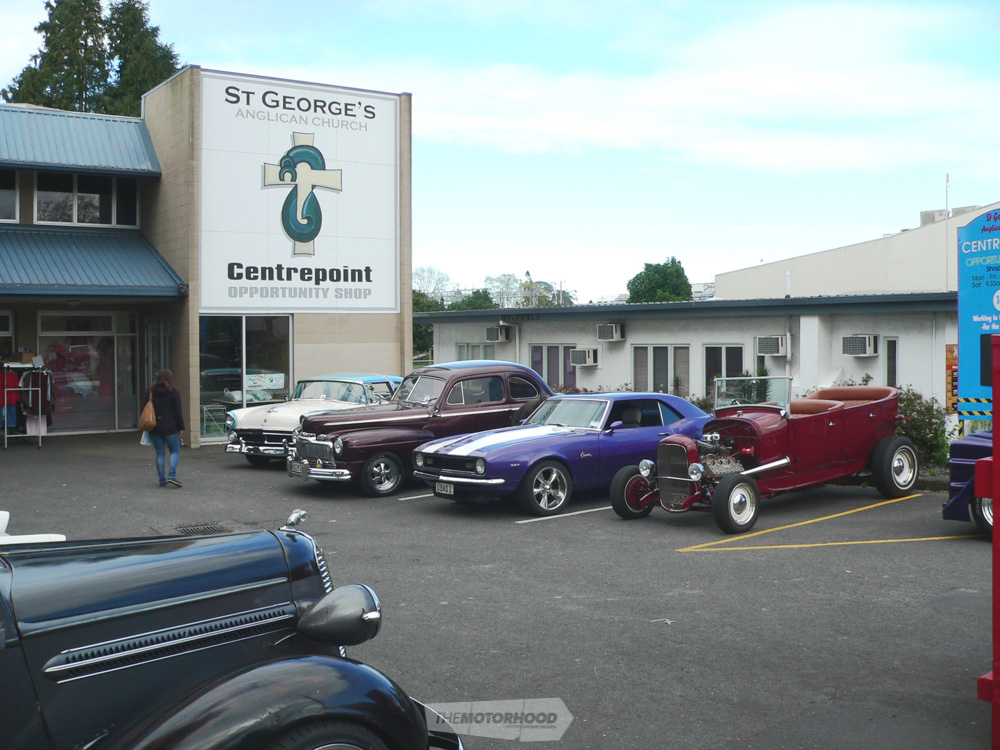 From right to left. Kerry Clark's Mode A Tub, an unkown 327 Camaro, Ron Ronaki's 1947 Mercury & Jamie Kl.jpg