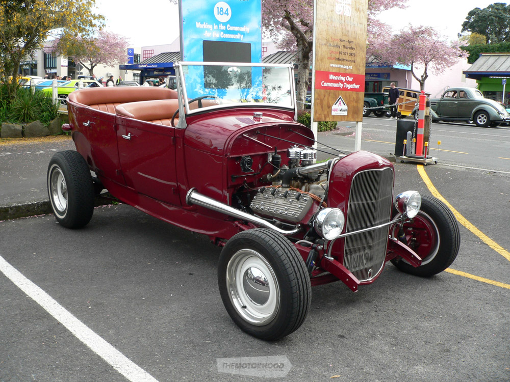 Kerry Clark owns this neat Early Days style Model A Hot Rod powered by a period correct Flathead Ford V8.jpg