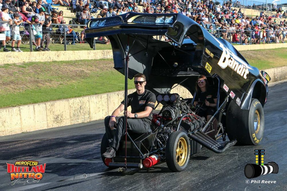 Photo supplied by Aeroflow Outlaw Nitro Funny Cars