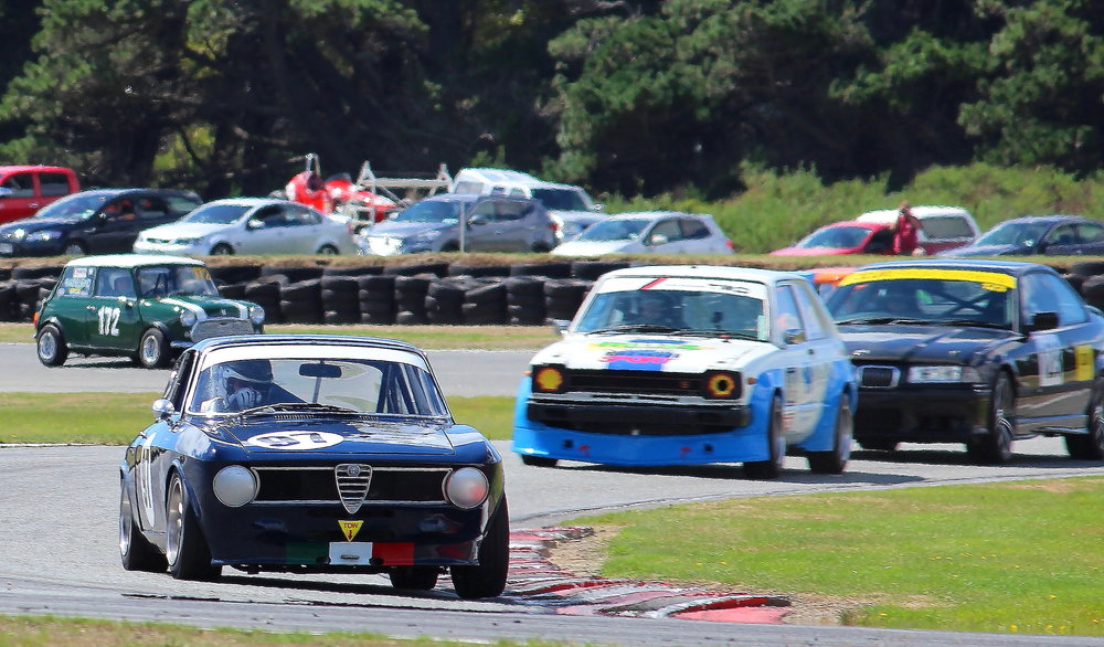 Different mount: Scott O'Donnell (Invercargill) enjoying a win in his classic Alfa Romeo GTV2000