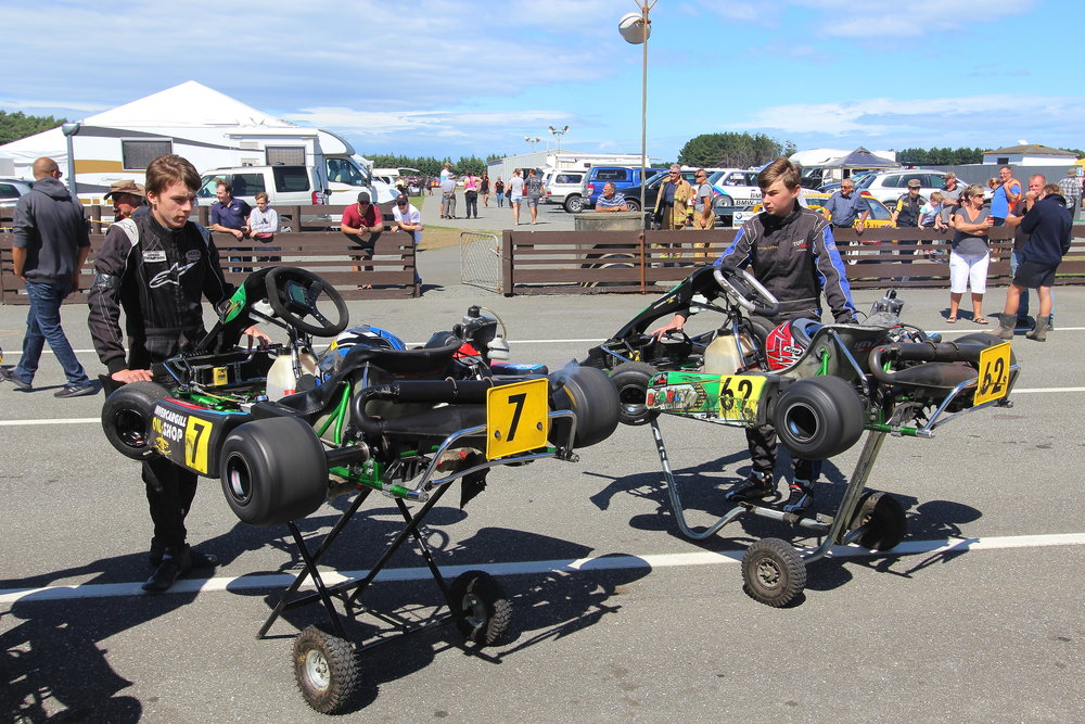 Kartsport Southland members geared up for the big track in lunchtime displays on both days
