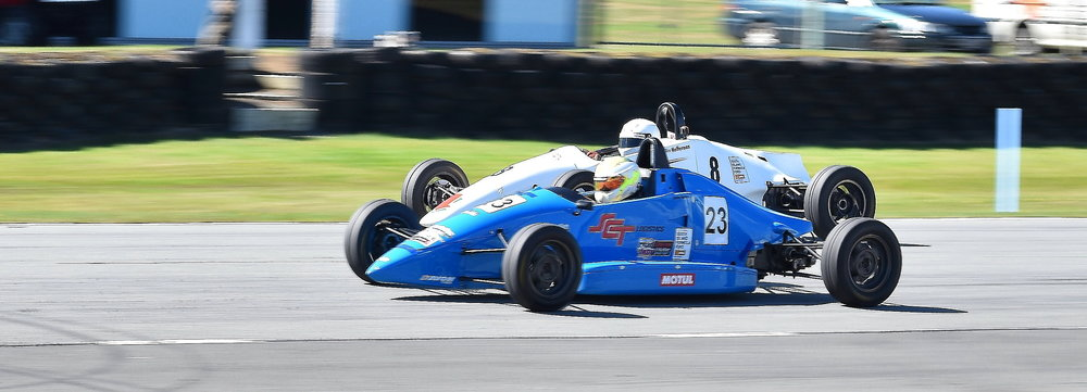 Invercargill drivers Jordan Michels in his Mygale FF battled Steve Heffernan in his Formula Ford all weekend with Michels the victor
