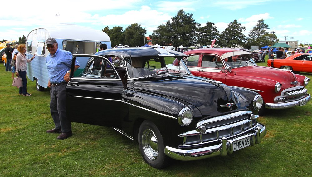 Lovely rebuilt caravan complemented by a 1949 Chevrolet
