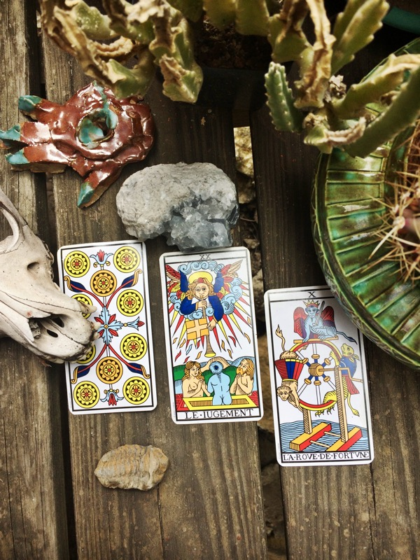 Yes: Ten of Pentacles; But: Judgement; Therefore: Wheel of Fortune