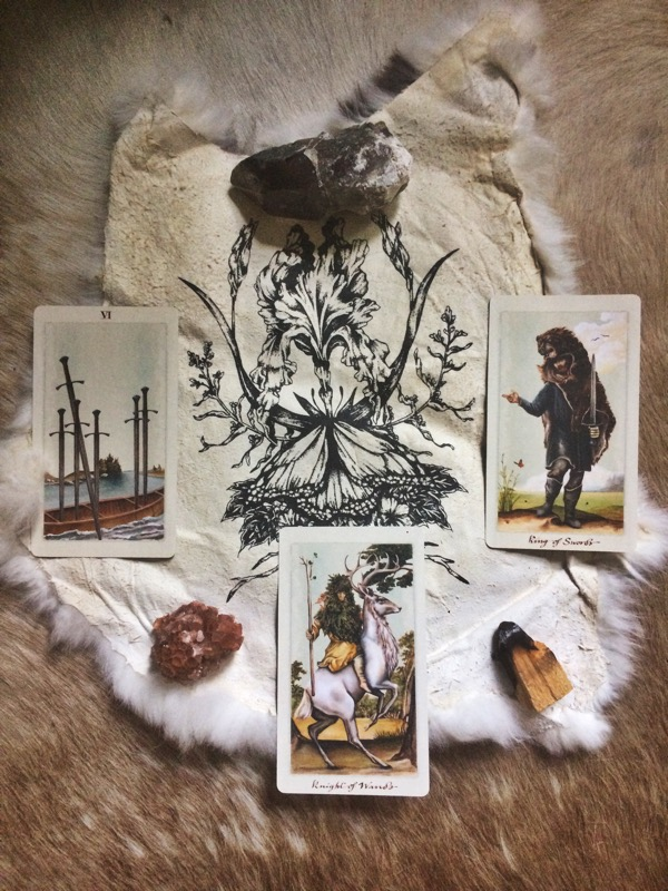 Six of Swords, Knight of Wands and the King of Swords from the Pagan Otherworlds tarot deck by Uusi Design; gorgeous Iris printed pelt by Ash Miyagawa.