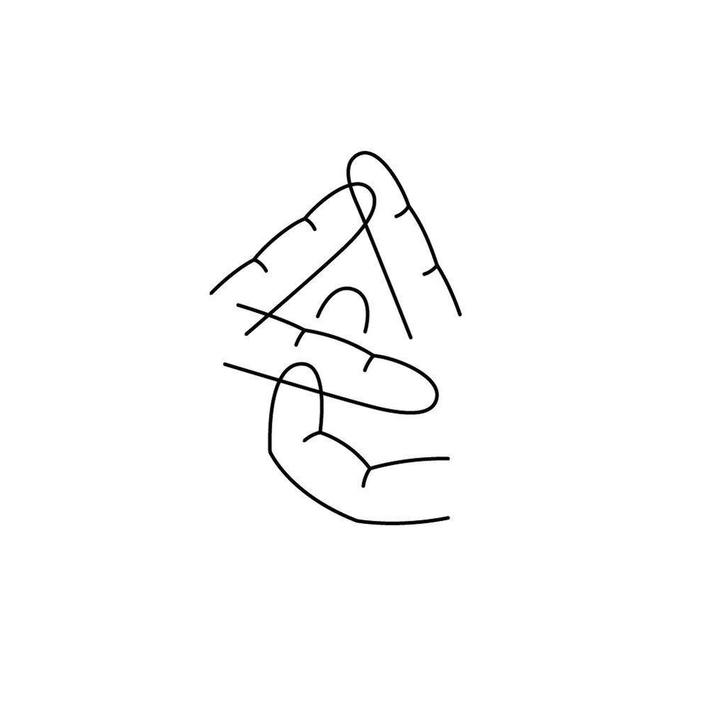 Day 22  손 /son/ Here is 손(=hand) that's made of fingers. This is probably the most illustrative one so far. Not sure if I like it or not - or I should like it or not - since it becomes more of letters to see instead of letters to read. What is this, illustration or type?