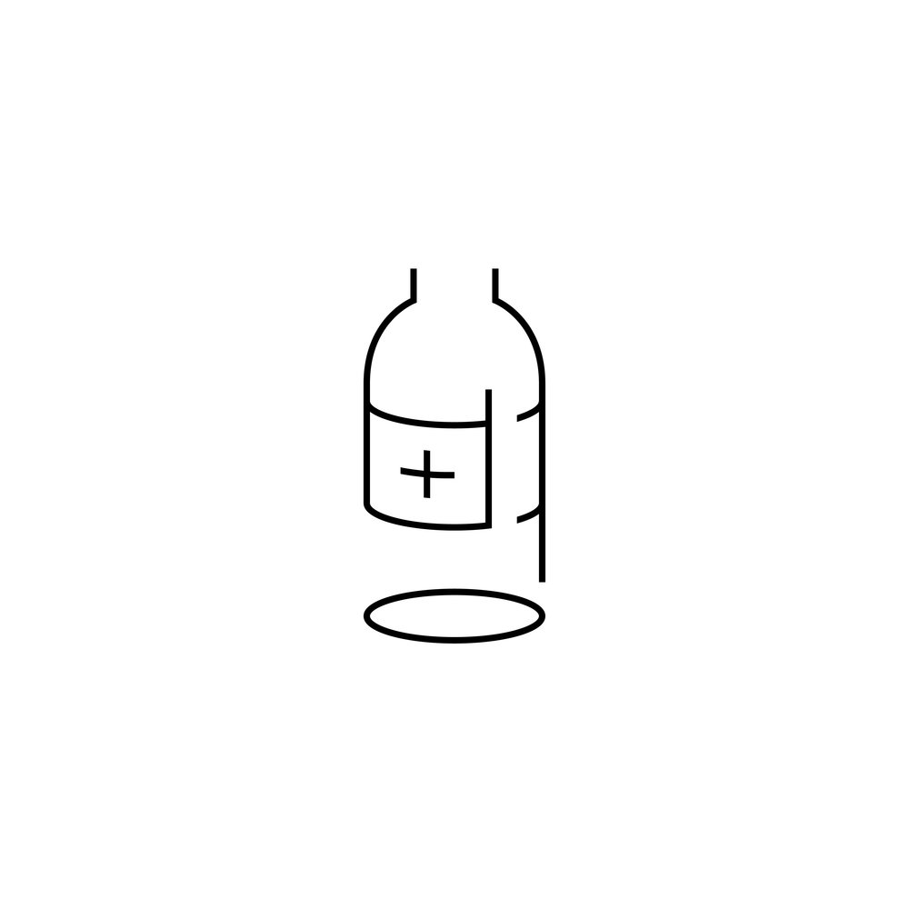Day 36  병 /byung/ 병 means sickness 🤒, or bottles in Korean. Tried to combine both in one drawing with a little red cross on a bottle.