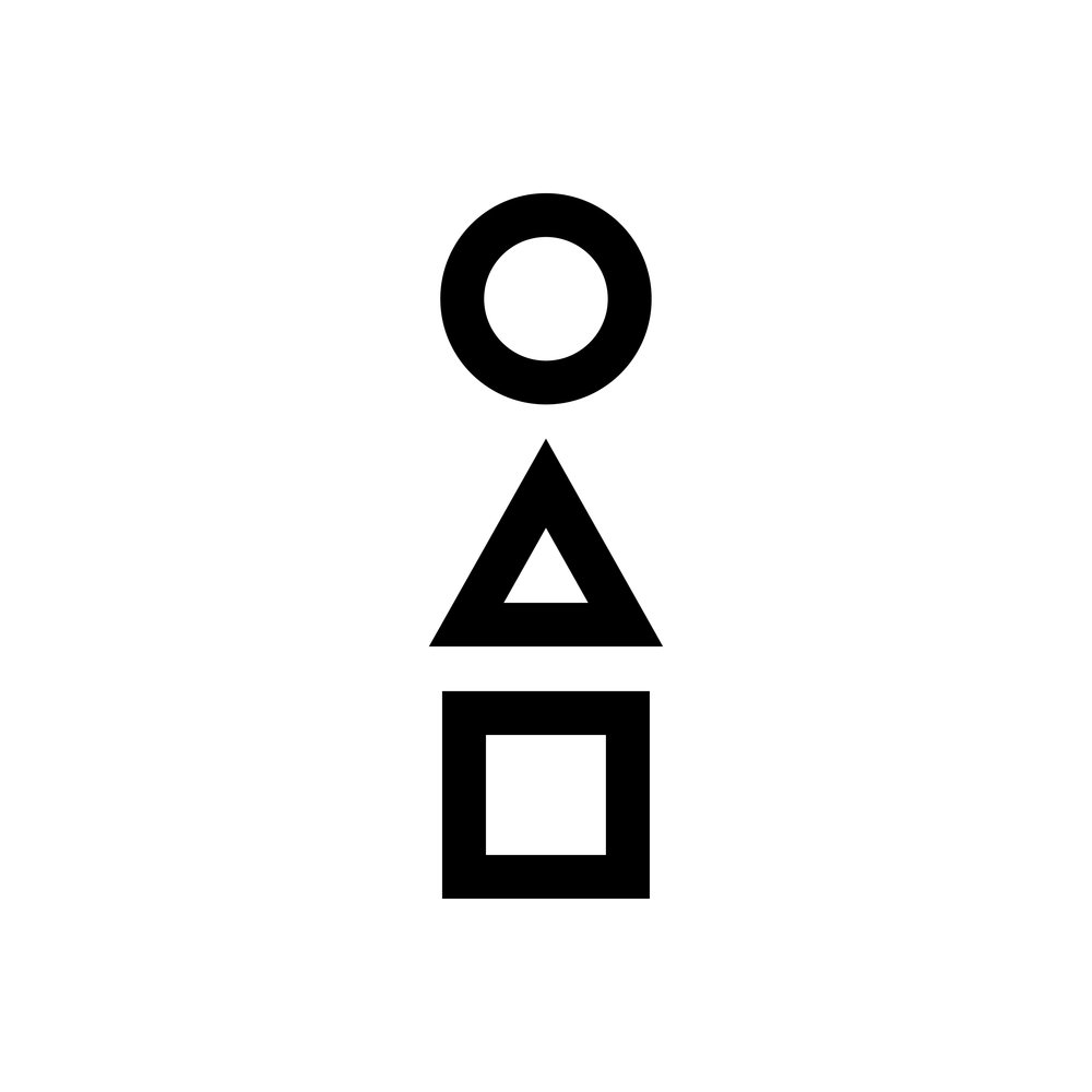Day 76  옴 /ohm/ You can stack three primary shapes on top of each other and make a Korean letter 옴, which means coming ⏺🔼⏹