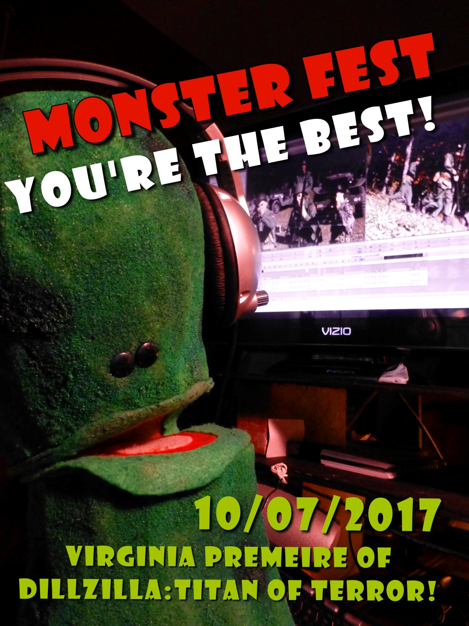 "Pickleman wants to thank all of his fans and especially those who took roles in his latest adventure, ""Dillzilla: TItan of Terror!""  Only the purest and most imaginative sort are willing to run in the rain, screaming in terror from an imaginary pickle.  These folk are the best and must be recognized and appreciated.  For their unselfish commitment has helped films be created throughout the ages. On October 7, Saturday, at  Monster Fest Chesapeake 2017, Pickleman will be present to reacquaint and to thank any pickle lover .   ""It's a particular pleasure  to partake in the joy, the education and all round silliness that is Monster Fest!""   Be sure to bring the whole family out to the affair and to watch my film, ""Dillzilla:Titan of Terror!  And remember, anything starring  Pickleman is Kosher for all ages!"""
