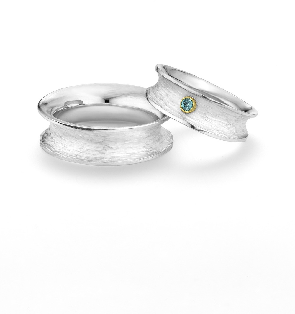 Anticlastic Wedding Bands, Sterling Silver, Blue Zircon and 18ky Gold