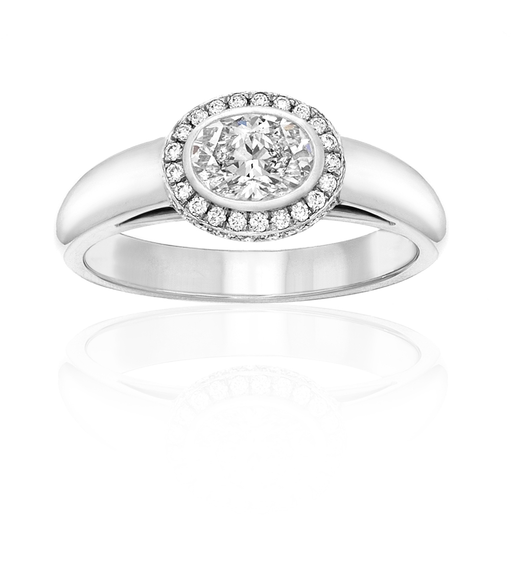 Oval Diamond with Micro Pave Halo, Platinum