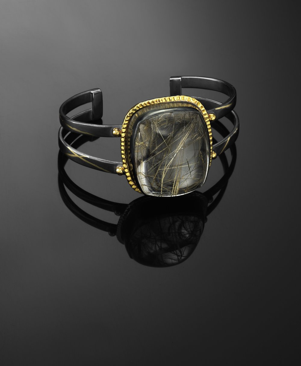 Rutilated Quartz Cuff Bracelet 2015