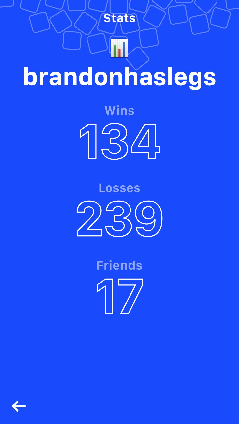 Stats screen.