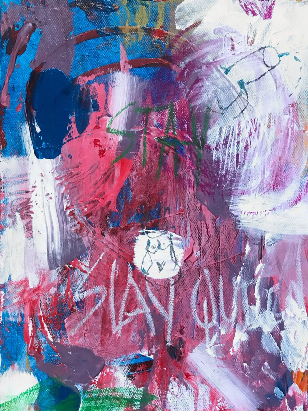 Stay Queen  Acrylic, graphite, oil pastel on canvas 30 x 40 cm