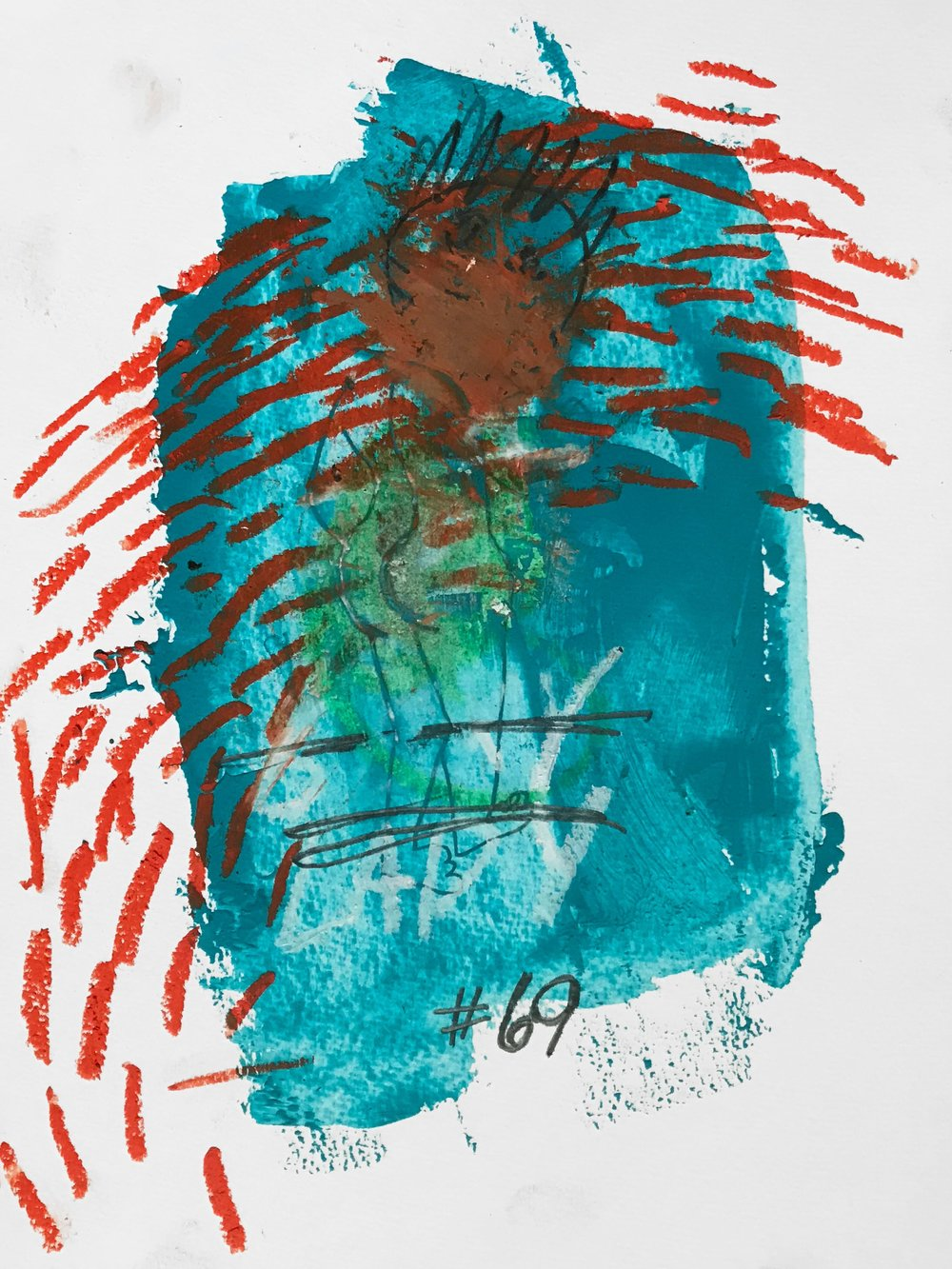 #69  Acrylic, graphite, oil pastel on paper 24 x 32 cm