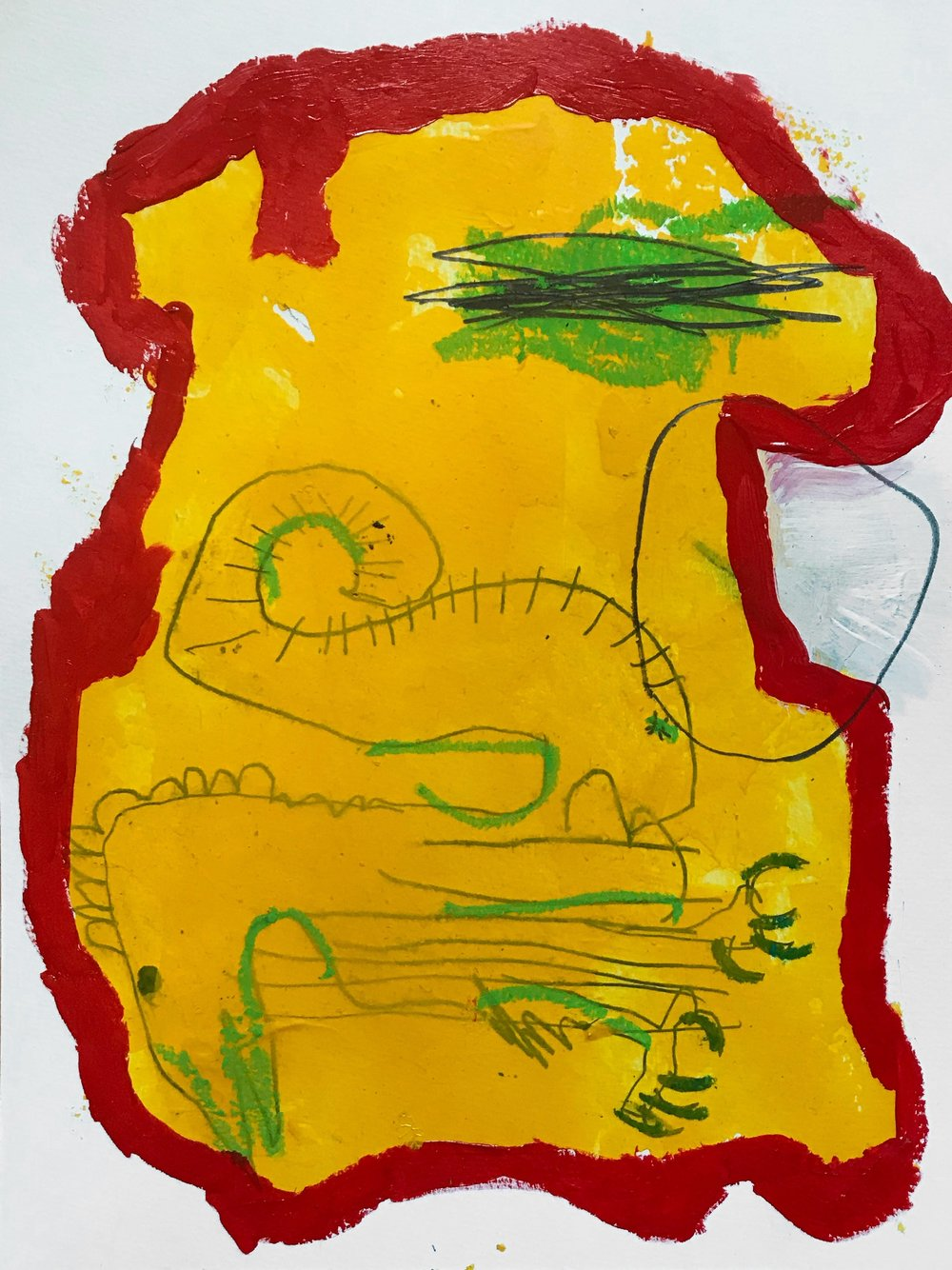 Dinosaur  Acrylic, graphite, oil pastel on paper 24 x 32 cm