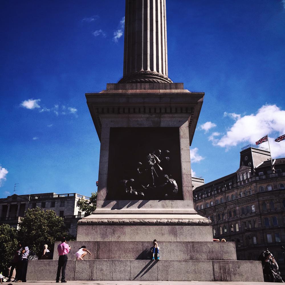 Trafalgar Square at lunch time, London, 2015.