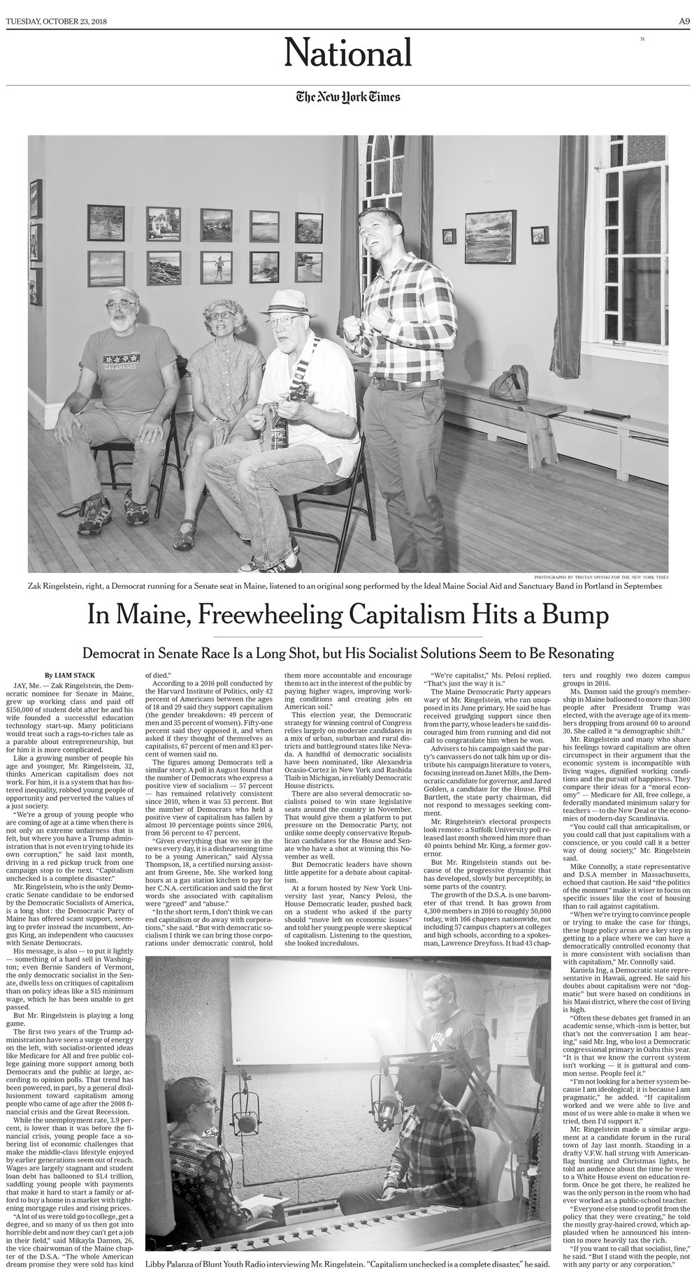 """In Maine, Freewheeling Capitalism Hits a Bump.""  Photos by:  Tristan Spinski . Role: Assignment, final select."