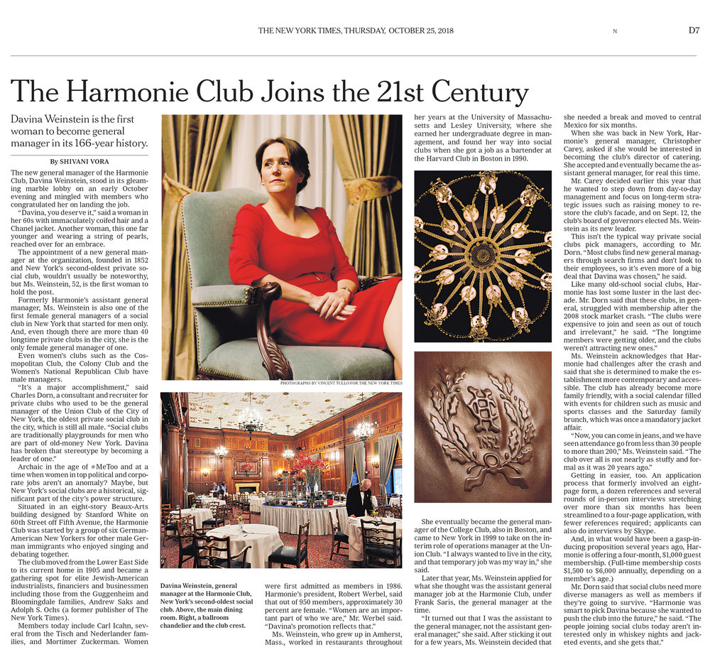 """The Harmonie Club Joins the 21st Century.""  Photos by:  Vincent Tullo . Role: Assignment."