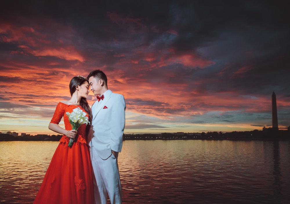 潮汐湖与华盛顿纪念塔 (Tidal Basin and Washington Monument) 华盛顿婚纱;华盛顿DC婚纱;大华府婚纱;DC婚纱