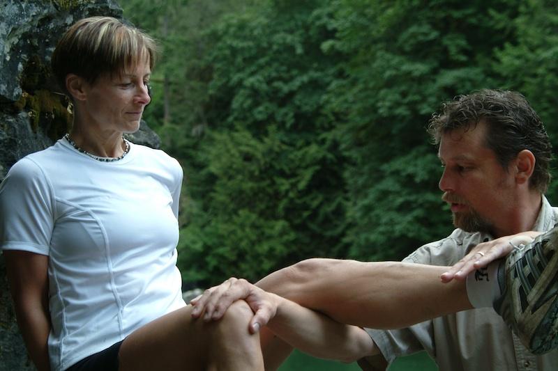 Greg Pandiculating Judy at River.jpg