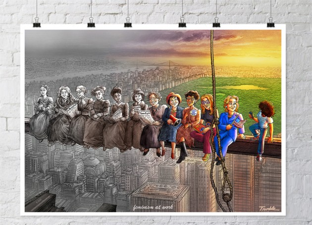 """Inspired Illustration, ""FEMINISM AT WORK,"" Pays Tribute To Pioneers Who Moved Women's History Forward"""