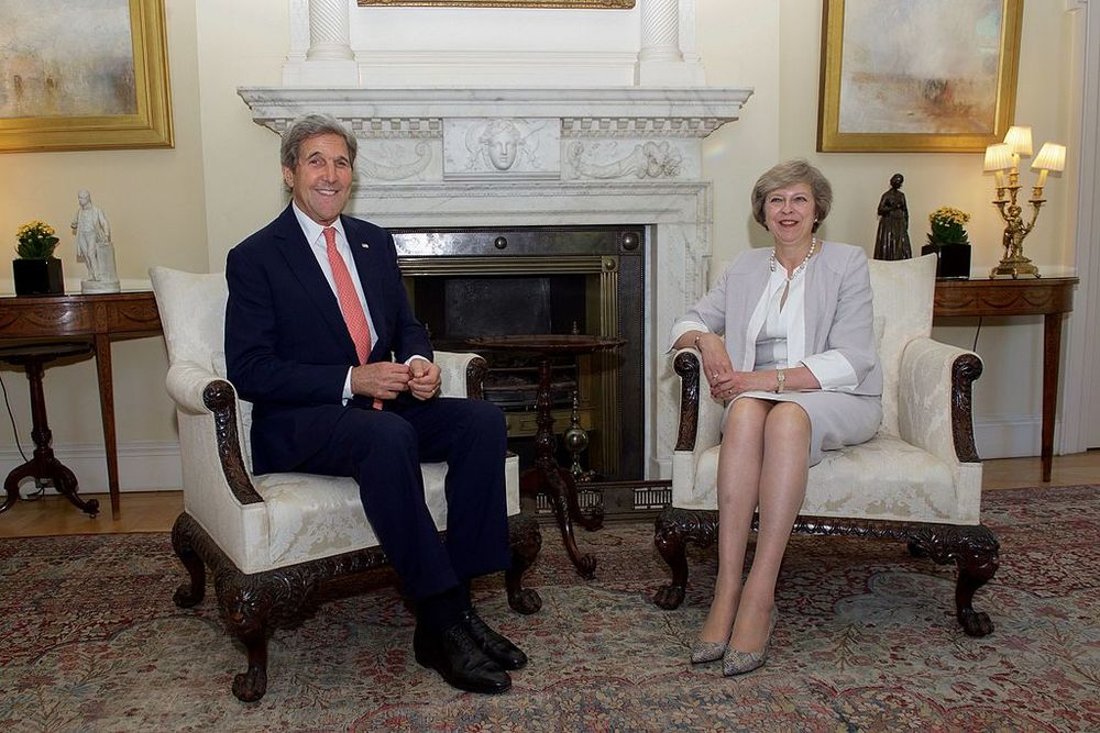 U.S. Secretary of State John Kerry with British Prime Minister Theresa May, by U.S. Department of State from United States [public domain],  via Wikimedia Commons