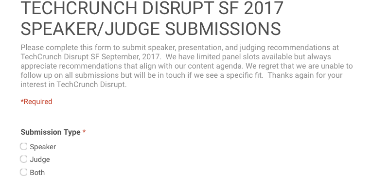 TechCrunch Disrupt SF 2017 speaker form