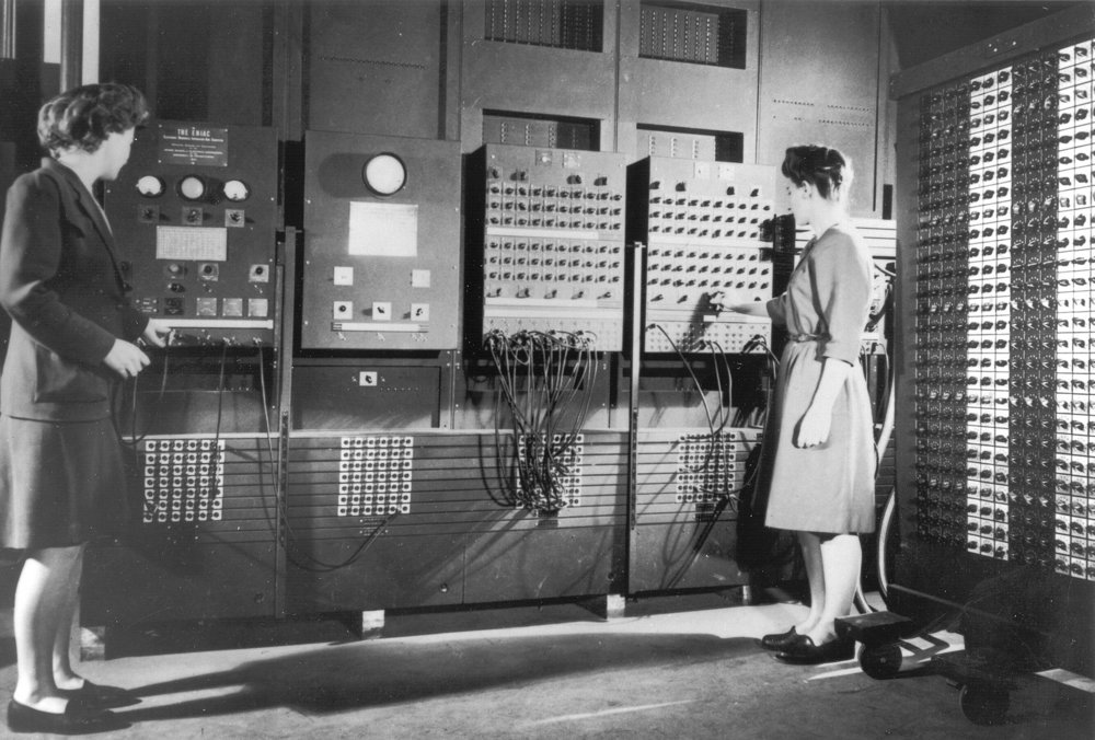 left to right: Betty Jennings and Frances Bilas, operating an ENIAC