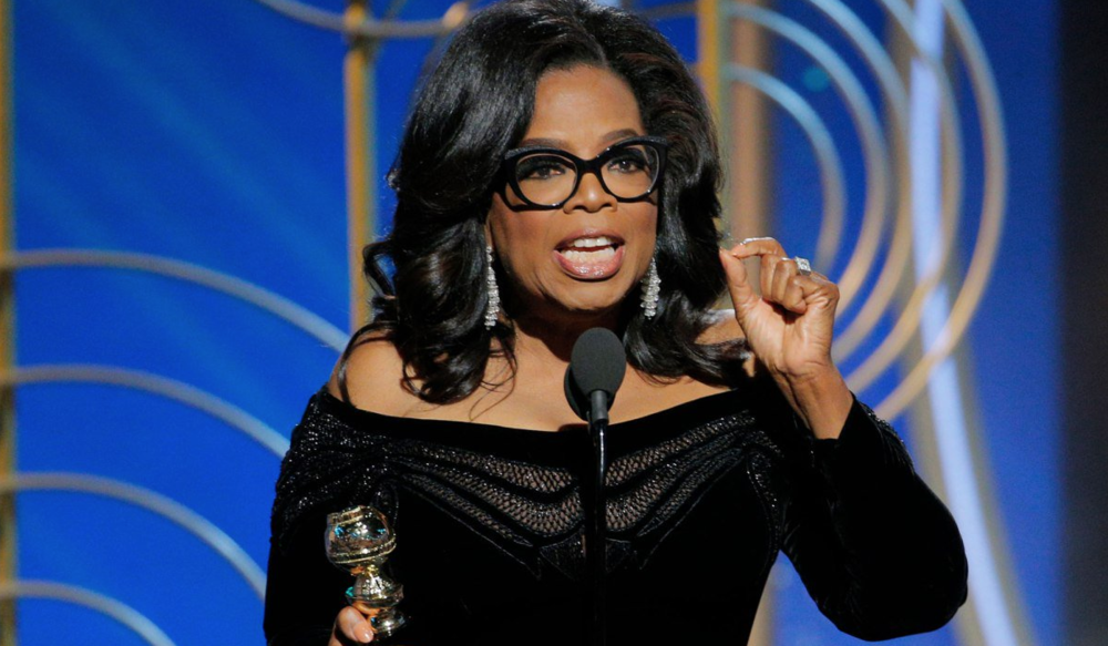 Oprah Winfrey speaking at the 2018 Golden Globes
