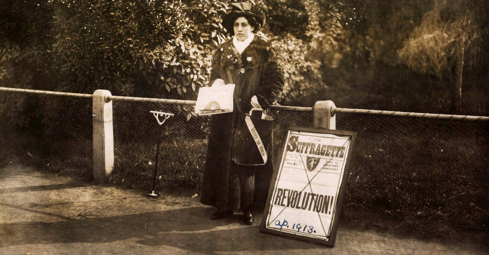 Princess Sophia Duleep Singh selling subscriptions for the Suffragette newspaper outside Hampton Court in London, April 1913.