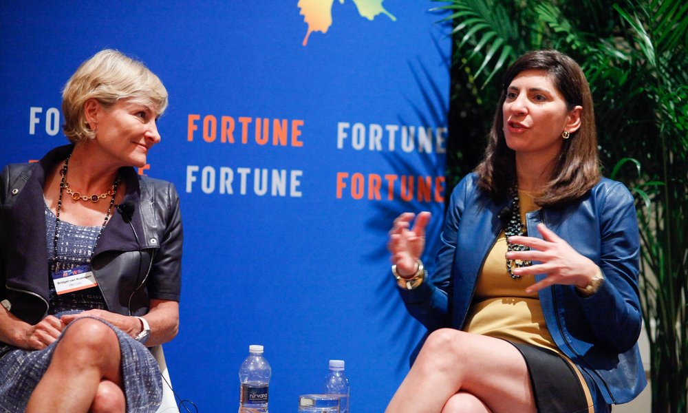 Stacey Cunningham (right) at Fortune's Most Powerful Women 2017 Summit. Photo credit: Fortune Conferences [ CC BY-NC-ND 2.0 ],  via Flickr  (cropped).