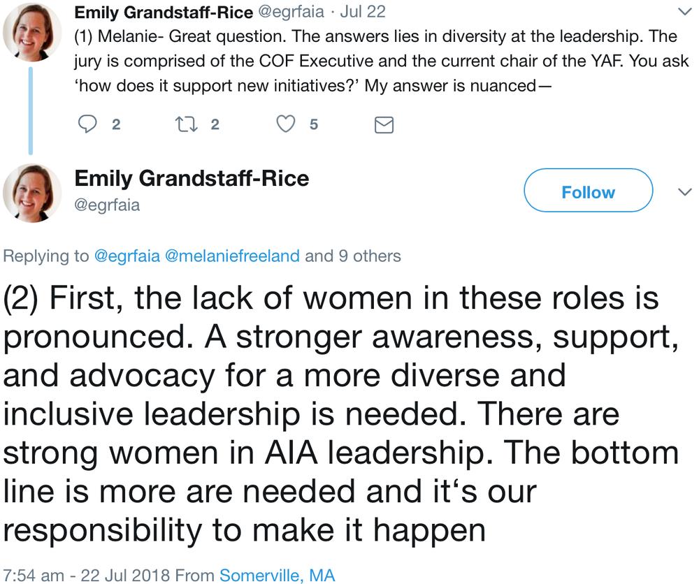tweet by Emily Grandstaff-Rice (@egrfaia)
