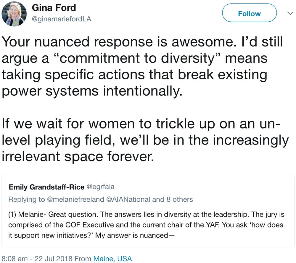 tweet by Gina Ford (@ginamariefordLA)