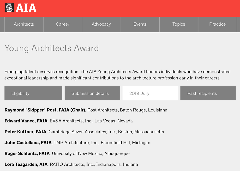 American Institute of Architects Young Architects Award jury