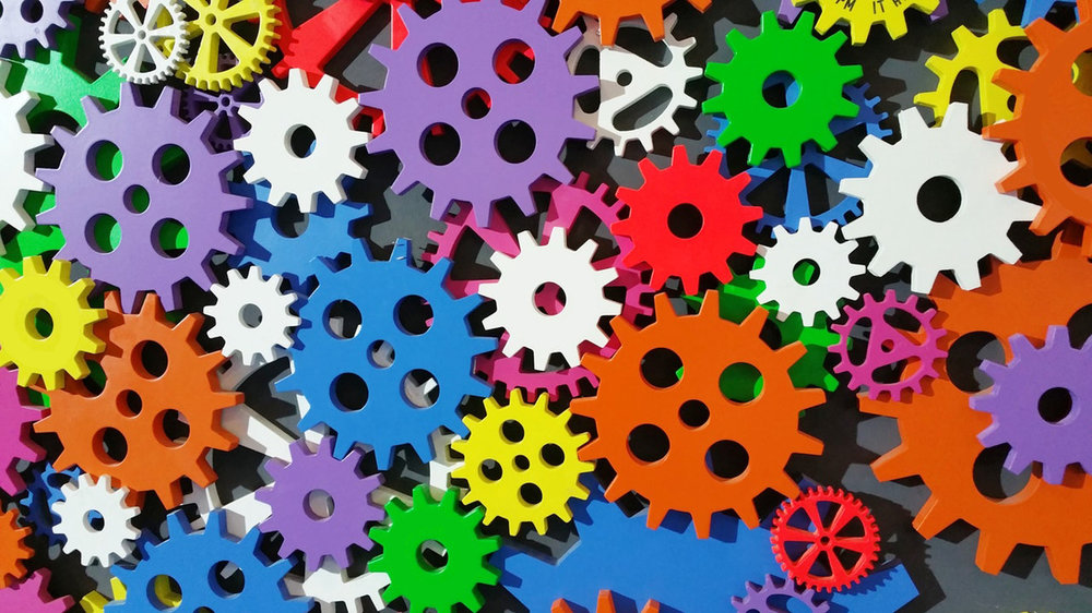 a colourful pile of gears