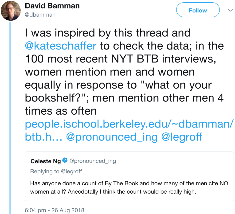 a screenshot of a tweet from David Bamman