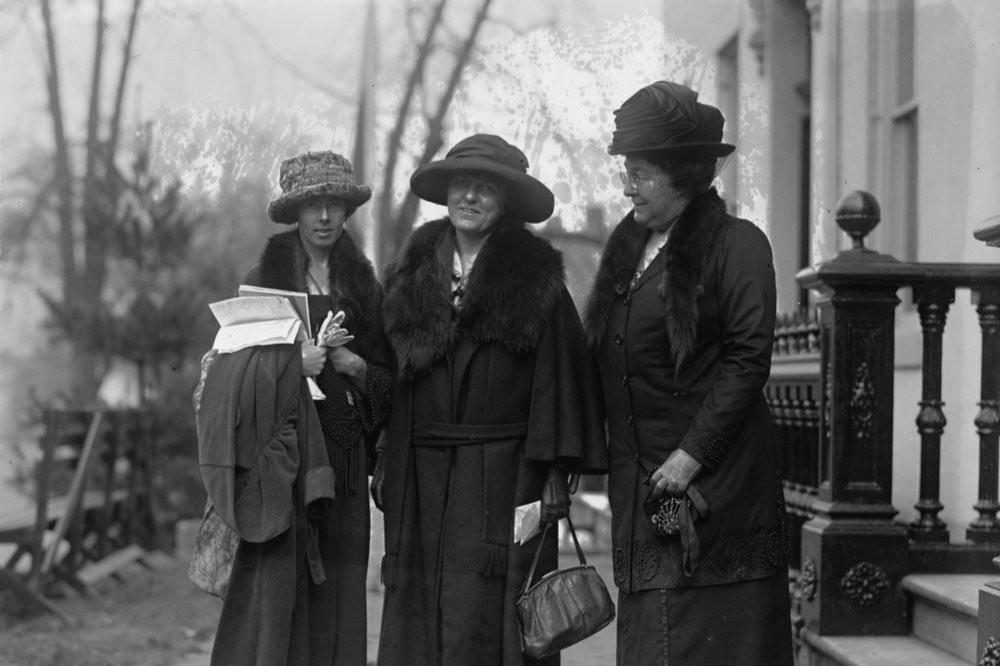 Katherine Morey, Elsie Hill, and Mrs. Wm. H. Blauvelt at a Woman's Party equal rights conference on 11 November 1922.
