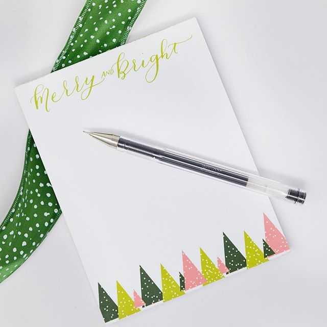 Jot yourself a merry little note!  Right now only $4 each. Message me to order! . . . . . #calligraphy #moderncalligraphy #notepad #sale #christmassale #christmasgift #stockingstuffer #customnotepad #fortworthcalligrapher #fortworth #lemonseedpress