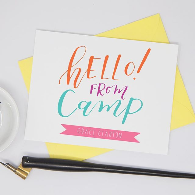 Because who doesn't want to reminisce and dream about long summer nights and forever camp memories? ⛺️☀️🌙 #summeriscoming . . . . . . #calligraphy #moderncalligraphy #moderncalligrapher #fortworth #camp #campcards #cards #stationery #stationary #graphicdesign #livecolorfully #colorfulpaper #customdesign #personalizedstationery #handlettered #nomoreboringenvelopes #lemonseedpress