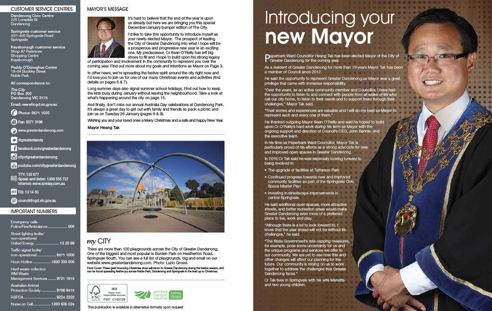 City of Greater Dandenong commissioned Kylie to cover the 2015 Mayoral Elections, where Councillor Heang Tak was voted in as Mayor for 2016.  The images taken were to be used for 'The City' Magazine and other council promotional purposes.