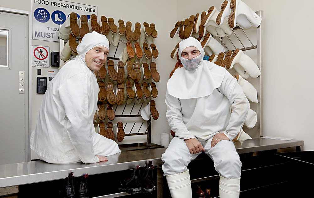 Moondara Cheese Company owners getting ready to inspect their products