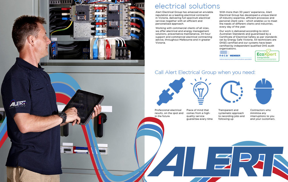 ALERT electrical Brochure Designed by Curtis Miller of  Fenchurch Studios, Melbourne