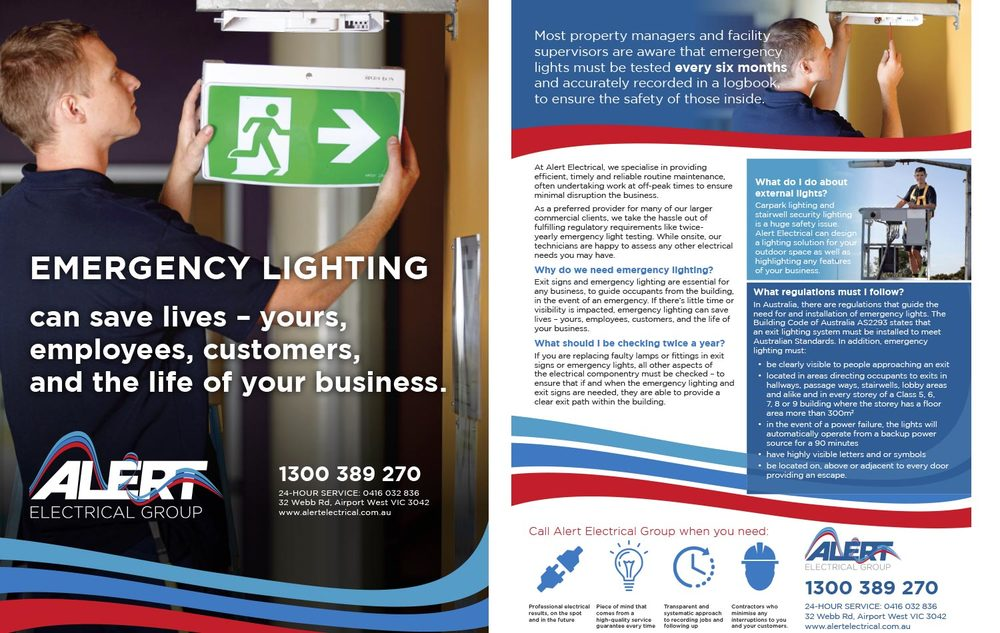 ALERT electrical FACT SHEET, Designed by Curtis Miller of Fenchurch Studios, Melbourne